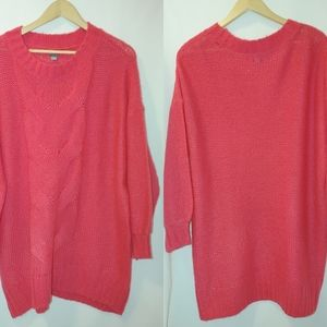 Aerie Oversized Open Knit Cable Sweater Pink M